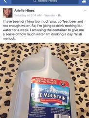 Arielle Hines's Facebook post about only drinking water
