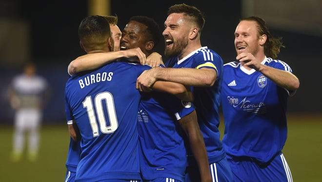 Reno 1868 FC's Jordan Murrell (4) celebrates his go ahead goal with his teammates while taking on Colorado Springs during their soccer game at Greater Nevada Field in Reno on April 22, 2017.