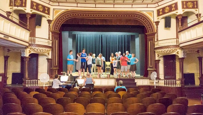 """Actors rehearse for the Earlville Opera House production of """"The Gondoliers."""""""