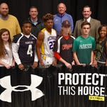 Wicomico celebrates its Under Armour varsity uniform contract. Pictured are, front row from left, student athletes Dara Gregory (James M. Bennett High), Anna Waggoner (Wicomico High), Rodney Dawson (Parkside High), Barry Gaines (Wicomico High), Tyler Dunn (James M. Bennett High), Noah O'Barsky (Parkside High), Arieonna Joynes (Mardela High) and Maddy Catlin (Mardela High). Back row, Bryan Ashby, Supervisor of Athletics for Wicomico County Public Schools; Tim Berquist of Team Distributors; Butch Waller, head boys basketball coach at Wicomico High; and Micah Stauffer, Director of Secondary Education for Wicomico Schools.