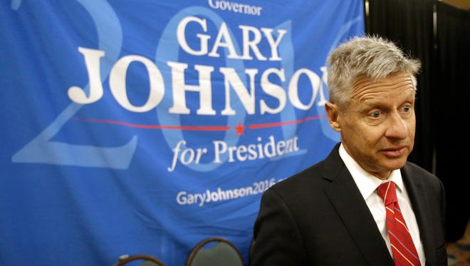 Libertarian presidential candidate Gary Johnson speaks on May 27 to supporters and delegates at the National Libertarian Party Convention in Orlando, Fla.