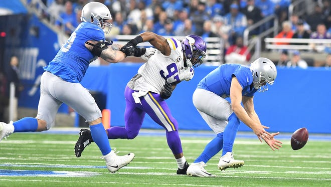The Lions didn't have many answers for Vikings defensive end Everson Griffen (97) last week.