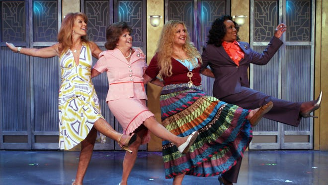 """From left, the Soap Star, The Iowa Houswife, The Earth Mother, played by Megan Cavanagh, and the Professional Woman, form a sisterhood during a department store lingerie sale in the off-broadway hit """"Menopause The Musical,"""" coming to the Plaza Theatre on Sunday."""