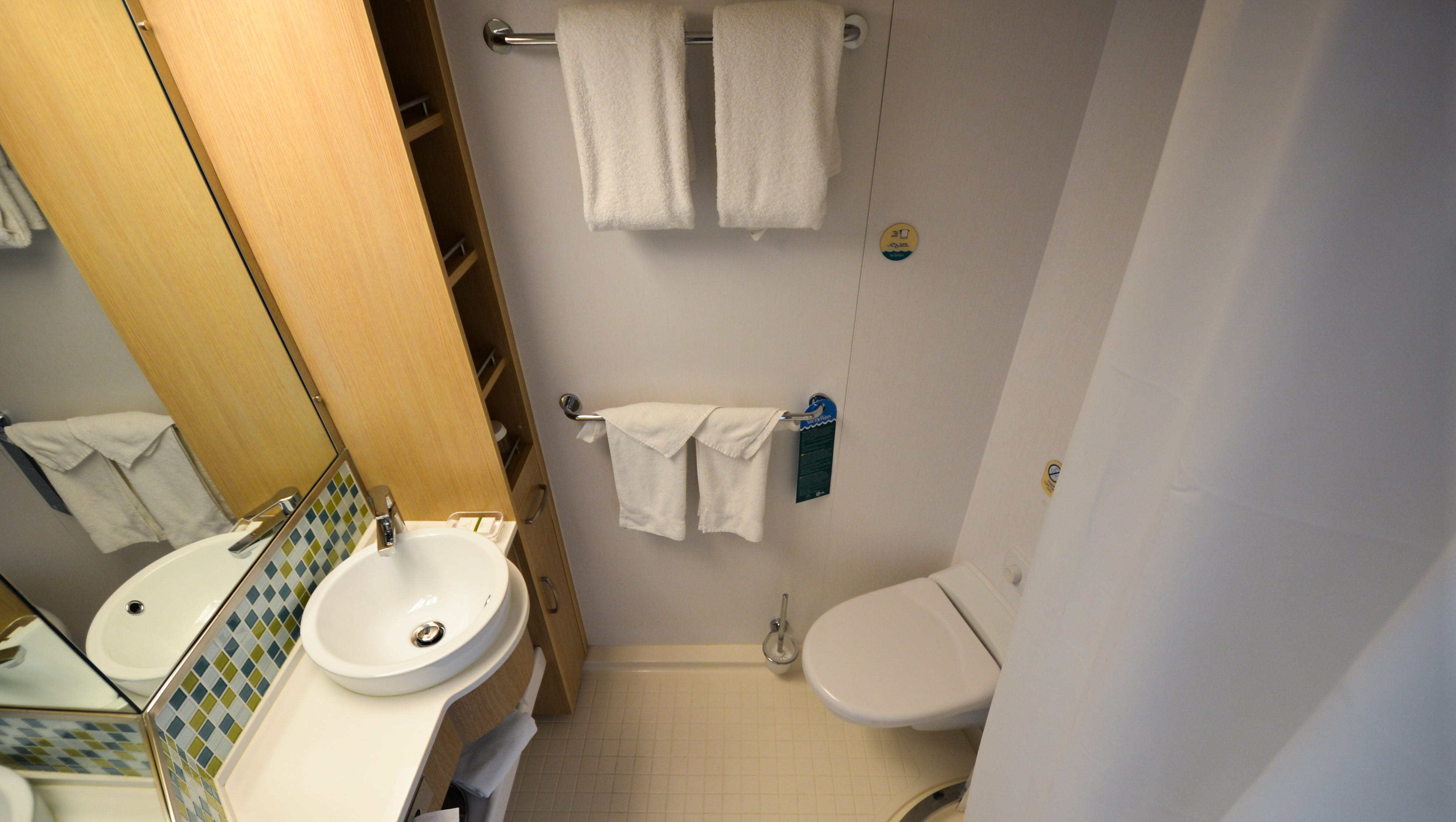 Bathrooms in Ocean View cabins are compact affairs that feature showers but no tubs.