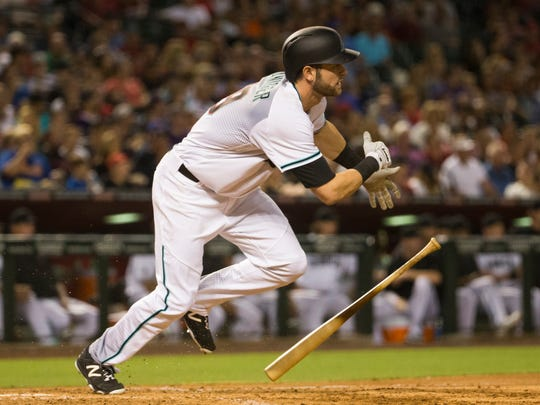 Arizona Diamondbacks left fielder Mitch Haniger grounds out against the New York Mets during the fourth inning at Chase Field in Phoenix August 16, 2016.