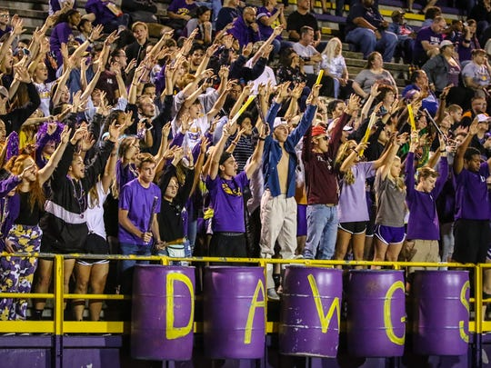 Smyrna fans cheer on the Bulldogs during last week's win over Siegel.