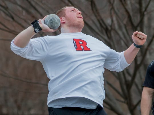 Rutgers-Newark junior Ed Dennerlein of Chatham competes in the shot put.