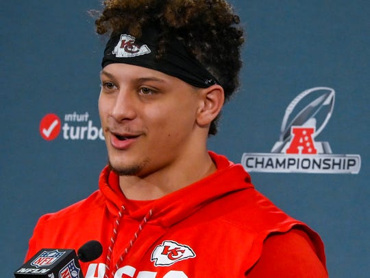 Kansas City Chiefs quarterback Patrick Mahomes answers questions during a news conference Wednesday, Jan. 16, 2019, in Kansas City, Mo. The Chiefs are scheduled to play the New England Patriots for the NFL football AFC championship Sunday. (John Sleezer/The Kansas City Star via AP)