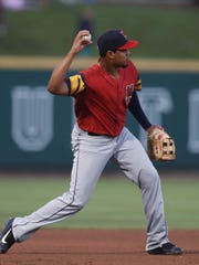 Mud Hens third baseman Jeimer Candelario throws to first base during fourth inning action against the Columbus Clippers Friday, August 4, 2017, at Huntington Park in Columbus, Ohio.