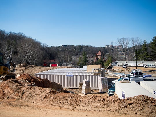Construction on the six-story, Holiday Inn and Suites on Hendersonville Road continues March 9, 2017 as Biltmore Village experiences a mini-boom of hotels.
