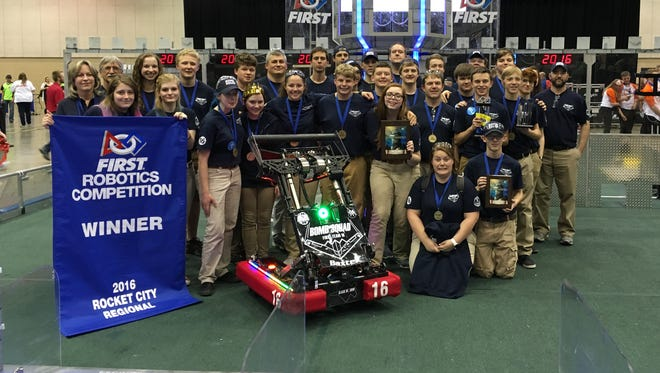The Baxter Bomb Squad poses for a picture Satuday in Huntsville, Alabama after winning the inaugural Rocket City Regional FIRST robotics competition.  The Mountain Home High School team won both regional competitions they were in this year and will head to St. Louis next month for the world championship.