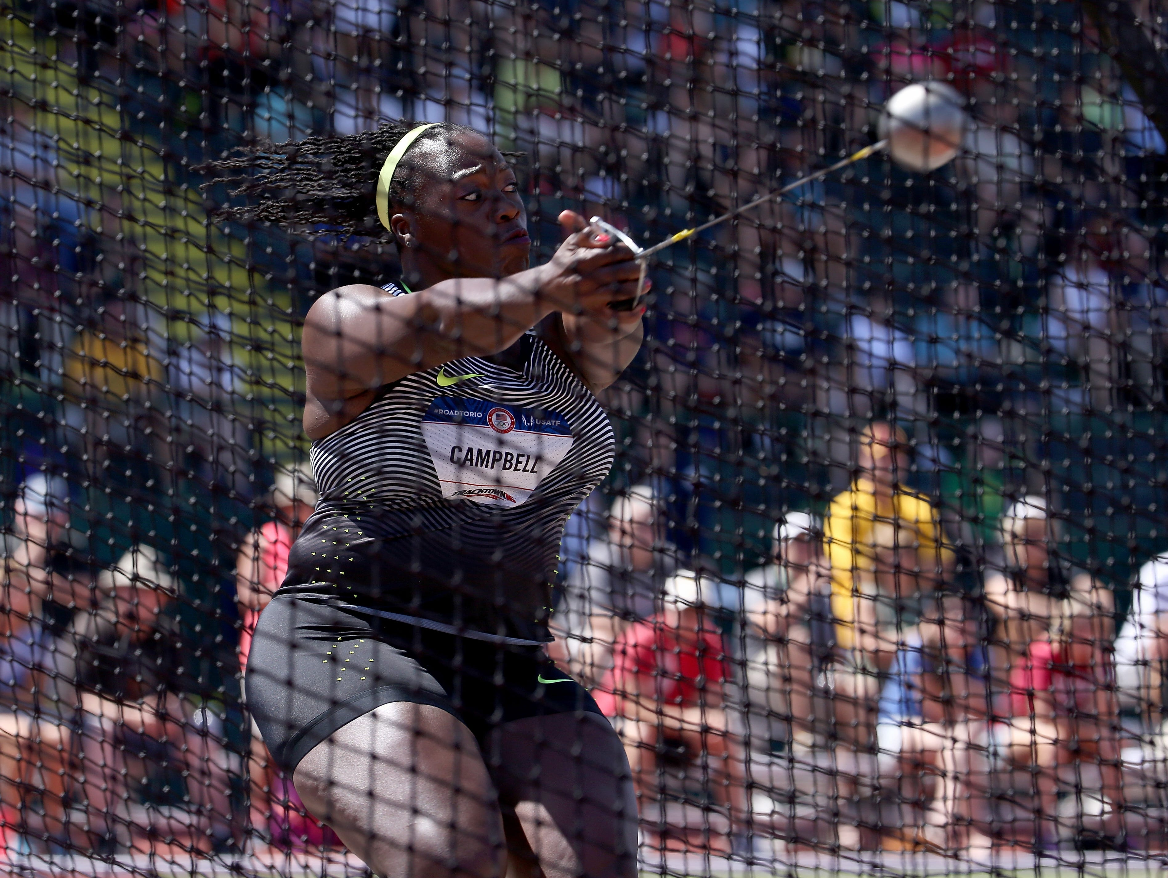 EUGENE, OR - JULY 06: Amber Campbell, first place, reacts in the Women's Hammer Throw Final during the 2016 U.S. Olympic Track & Field Team Trials at Hayward Field on July 6, 2016 in Eugene, Oregon.
