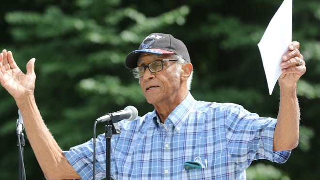 Roland Gibson, of Littleton, asked the crowd if Black lives mattered at various points in American history he mentioned during his speach on Westford Common Sunday, June 14, 2020.