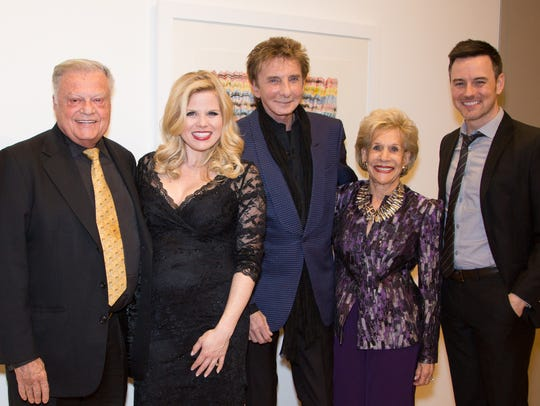 Harold Matzner, Megan Hilty, Barry Manilow, Annette Bloch, and Brian Gallagher appear at a benefit at the Annenberg Theater of the Palm Springs Art Museum in 2016.