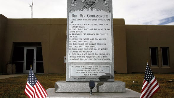 The Ten Commandments monument sits in front of the Bloomfield City Hall on March 13.