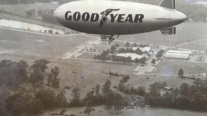 A Goodyear blimp sails over Richmond County.