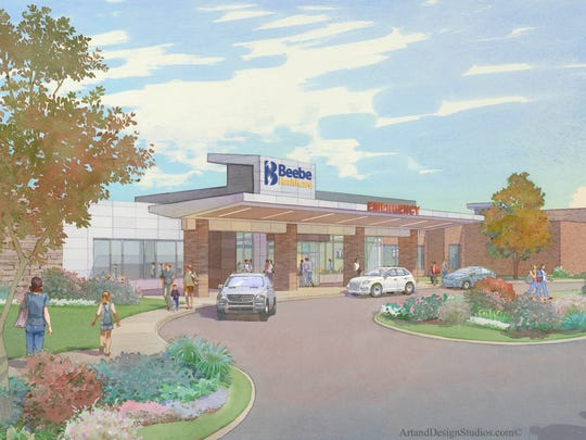 Beebe South Coastal Cancer Center rendering.