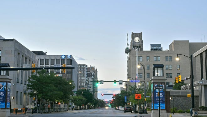 The skyline of downtown Erie is shown Aug. 18 looking south on State Street. Erie has been ranked as one of the most fitness-friendly places in the country.