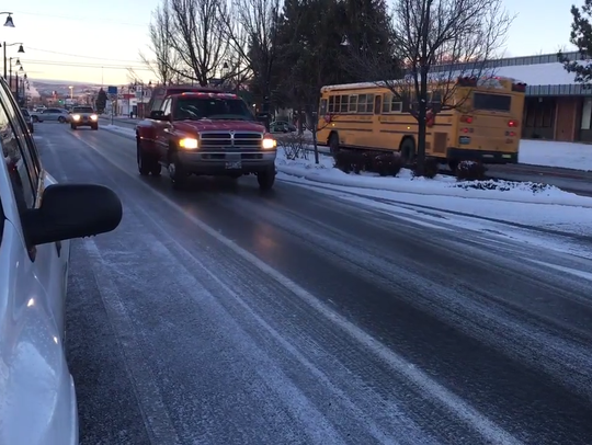 An icy road at Wells Avenue and Crampton Street on
