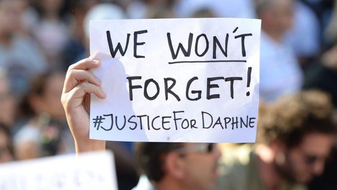 A rally for murdered journalist Daphne Galizia in Valletta, Malta, on Oct. 22, 2017.