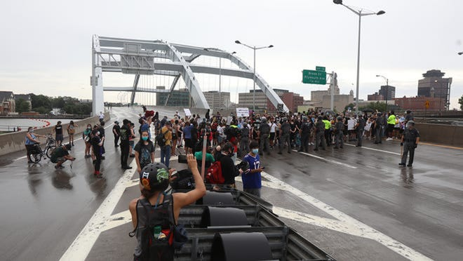 Organizers using the name Save Rochester -- Black Lives Matter plan another I-490 blockade on Friday, around rush hour. Protesters occupied a portion of the interstate, including the Frederick Douglass-Susan B. Anthony Memorial Bridge, on Sunday.