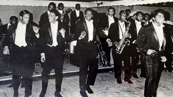 The original James Brown and the Famous Flames perform in the early 1960's at Small's Paradise in New York. From left: Lloyd Stallworth, Bobby Byrd, Bobby Bennett, bandleader Sinclair Pickney playing sax and Brown.