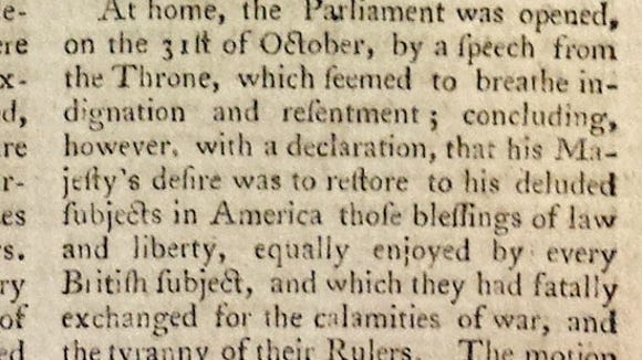 A reaction to the Articles of Confederation from The Universal Magazine of 1781, a British publication.