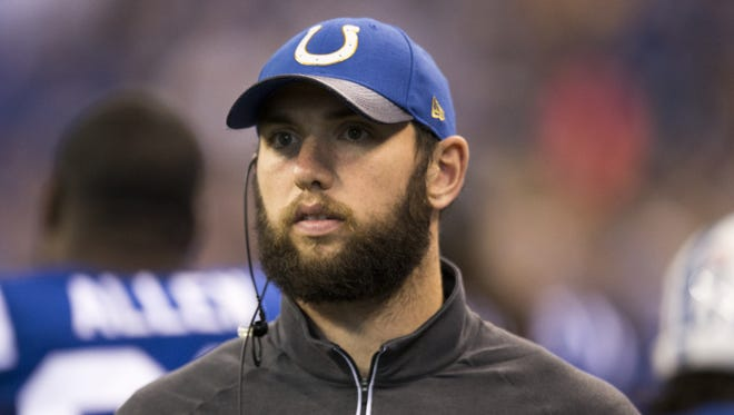 Indianapolis Colts quarterback Andrew Luck (12) stands on the sidelines, Tampa Bay Buccaneers at Indianapolis Colts, Lucas Oil Stadium, Indianapolis, Sunday, Nov. 29, 2015. Tampa leads 12-6.