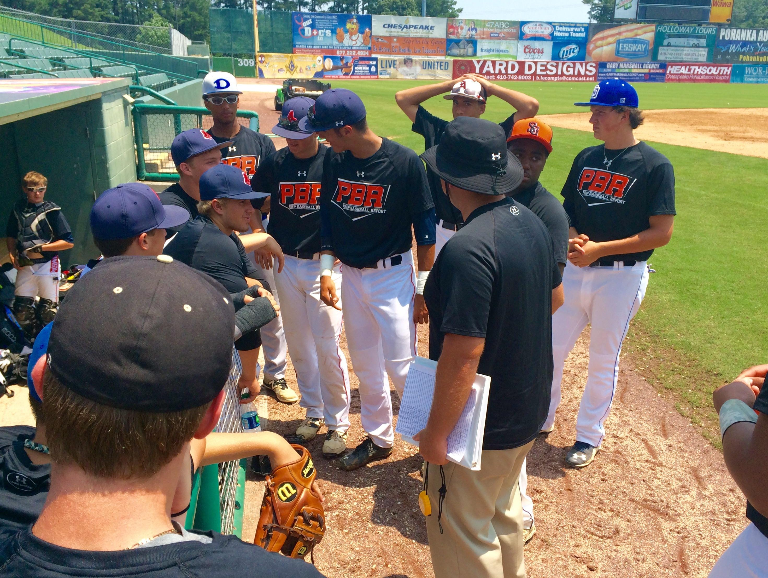 Players gather at the end of the event to talk with the PBR Director of Scouting for Maryland Jerry Shank.