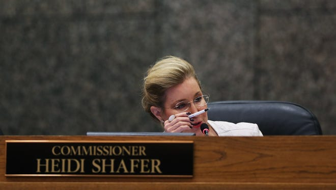 November 13, 2017 - Shelby County commission chairwoman Heidi Shefer speaks during a meeting on Monday. The commission voted Monday to direct Mayor Mark Luttrell to drop a lawsuit against Shafer over who controls an opioid lawsuit against Big Pharma. The commission voted 8-5 to approve the resolution, which was added on to the agenda an hour into Monday's meeting. The resolution also directs the administration not to file any lawsuits without prior approval from a majority of the commissioners. Joining Shafer in voting for the resolution were Commissioners Reginald Milton, Melvin Burgess, Van Turner, Terry Roland, Willie Brooks, Eddie Jones and Justin Ford. Voting no were George Chism, Steve Basar, Walter Bailey Jr., Mark Billingsley and David Reaves.