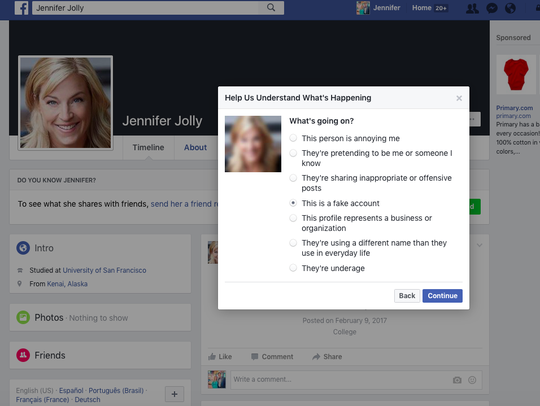 Reporting clone pages on Facebook.