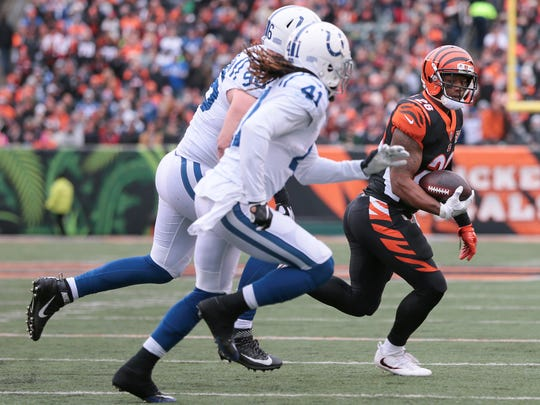 Cincinnati Bengals running back Joe Mixon (28) carries the ball in the first quarter during the Week 8 NFL game between the Indianapolis Colts and Cincinnati Bengals, Sunday, Oct. 29, 2017, at Paul Brown Stadium in Cincinnati.