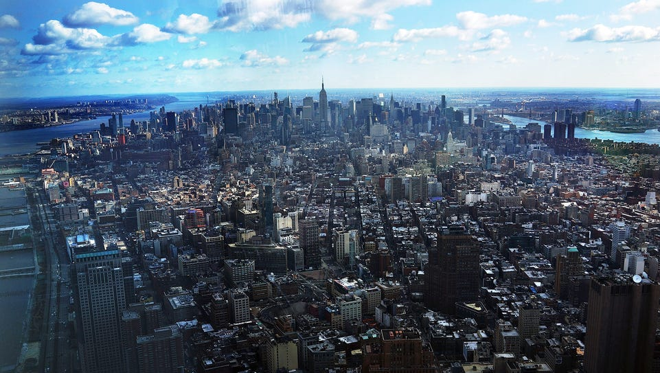 The view of Manhattan from One World Observatory on
