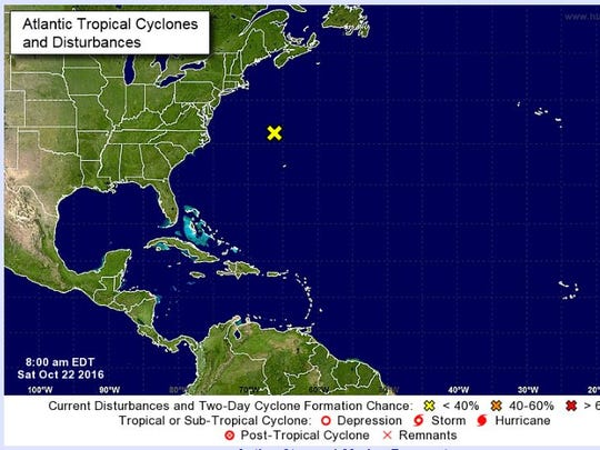 Location of a system being monitored in the Atlantic Ocean on Saturday.