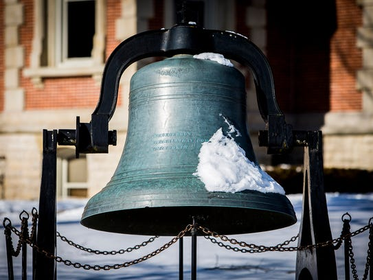 The Randolph County Courthouse bell in Winchester Thursday