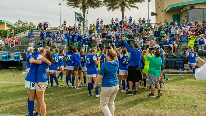 FGCU's lone NCAA tournament win came at USF in 2015 (postgame celebration here). The ASUN champion Eagles return to Corbett Stadium to take on the Bulls in another NCAA first-rounder at 1 p.m. Saturday.