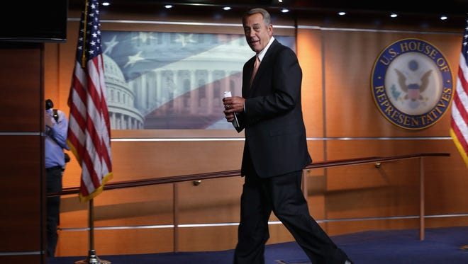 House Speaker John Boehner, R-Ohio, leaves his weekly news conference on Feb. 26, 2015, on Capitol Hill.