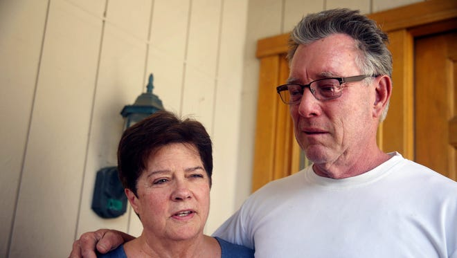 Liz Sullivan and Jim Steinle, parents of Kathryn Steinle, talk to members of the media outside their home in Pleasanton, Calif., July 2, 2015. Kathryn Steinle was shot to death while with her father on a popular pedestrian pier on the San Francisco waterfront.