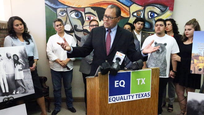 State Sen. José Rodríguez, D-El Paso, speaks at a news conference earlier this year on issues facing the LGBT community with County Judge Veronica Escobar, left, and members of the LGBT community. On Monday, he filed legislation seeking to protect LGBT rights.