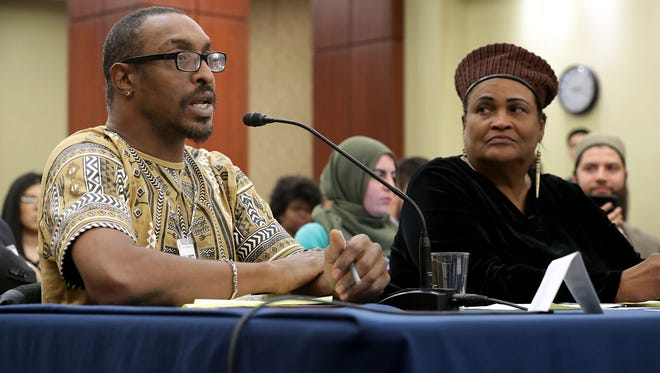 Muhammad Ali Jr. son of boxing legend Muhammad Ali, and his mother Khalilah Camacho-Ali participate in a forum titled 'Ali v. Trump: The Fight for American Values' about immigration enforcement with Democratic members of the House of Representatives at the U.S. Capitol March 9, 2017 in Washington, D.C.