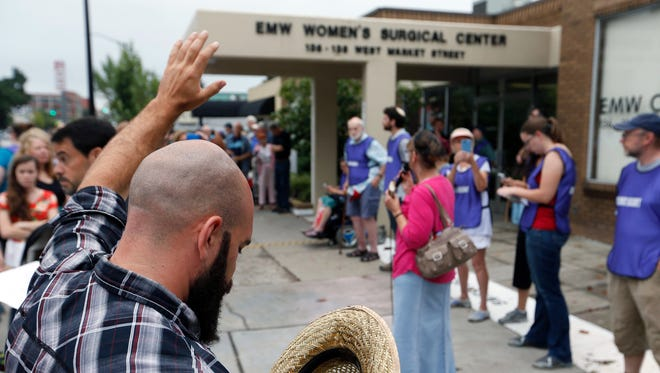 Anti-abortion protesters rallied July 28, 2017, in front of Kentucky's last abortion provider, EMW Women's Surgical Clinic in Louisville.
