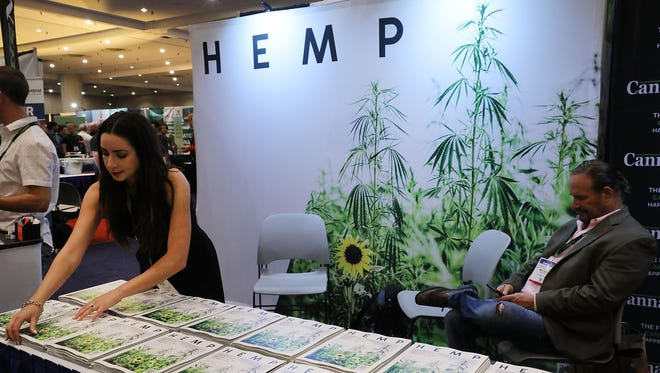 """Copies of Hemp magazine are displayed at the Cannabis World Congress Conference on June 16 in New York City. Billed as """"the leading trade show and conference for the legalized cannabis, medical marijuana, and industrial hemp industries,"""" the conference brings together dozens of both small and large businesses involved in the growing hemp and marijuana market."""