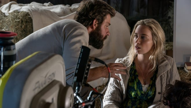 """Director, writer, executive producer and actor John Krasinski, Emily Blunt and Noah Jupe on the set of """"A Quiet Place"""" from from Paramount Pictures."""