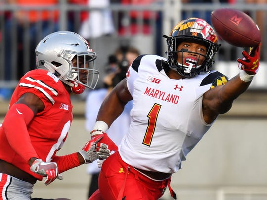 Junior D.J. Moore is Maryland's top receiver with 44 catches for 624 yards and seven touchdowns.