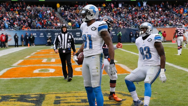 Detroit Lions wide receiver Calvin Johnson (81) celebrates a touchdown against the Chicago Bears on Jan. 3, 2016, in Chicago.
