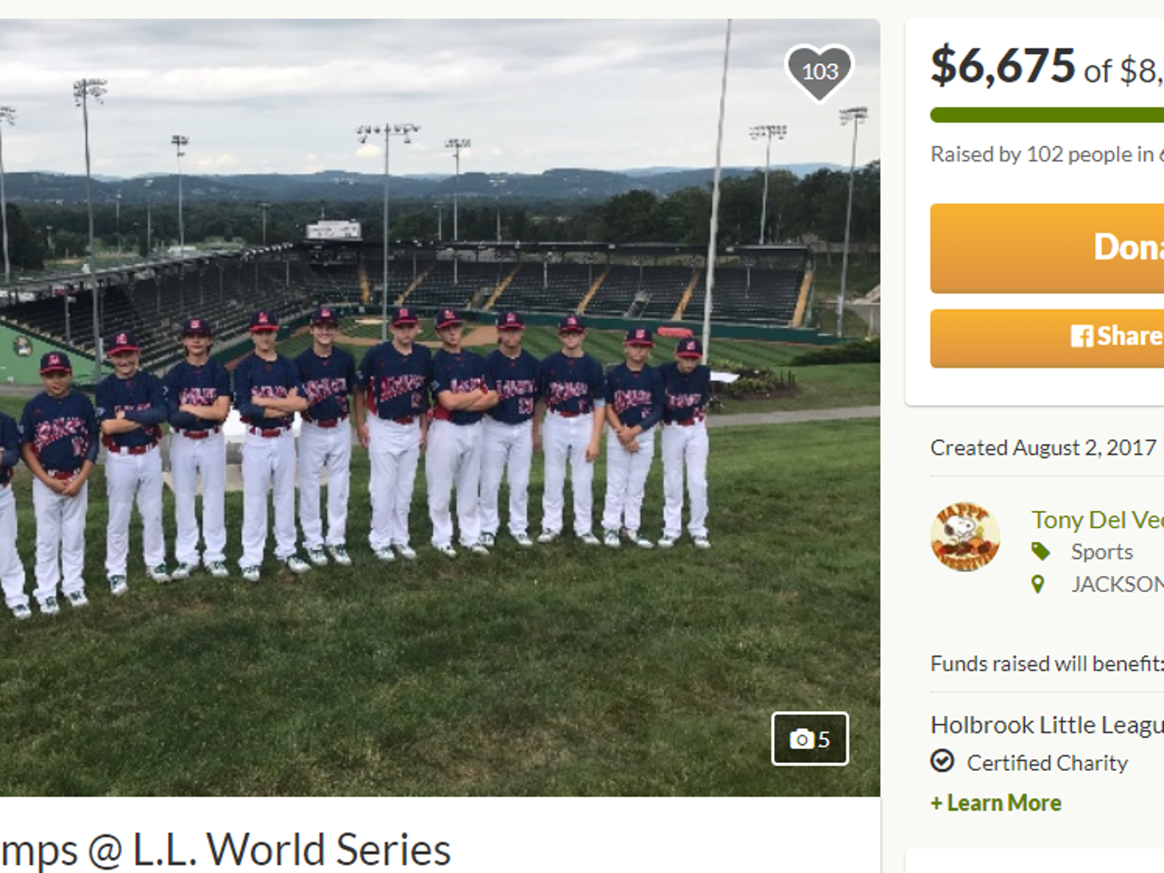 Screenshot of the GoFundMe campaign to reimburse parents of Holbrook Little League players on the run to the Little League World Series