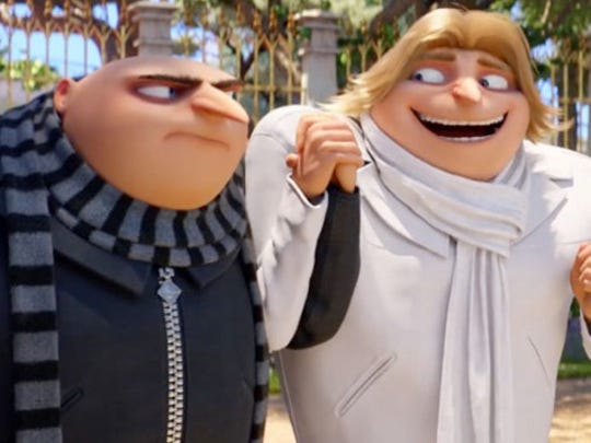 """Gru, left, meets his twin brother Dru (both voiced by Steve Carell) in the animated feature """"Despicable Me 3,"""" now on Blu-ray, DVD and a variety of streaming sites."""