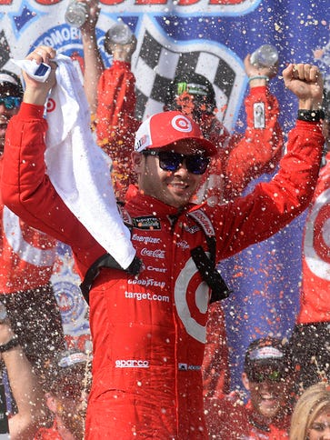 Kyle Larson leads the Monster Energy NASCAR Cup Series