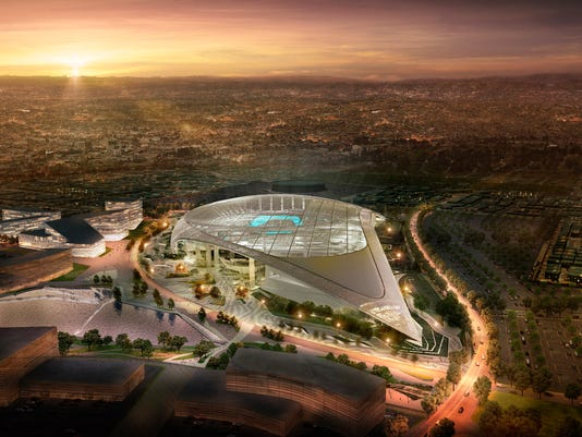 This architectural rendering provided by LA Stadium at Hollywood Park shows the south aerial perspective of the future home of the NFL's Los Angeles Rams and Los Angeles Chargers. The teams will begin selling season tickets March 13, 2018, for the stadium's opening tentatively scheduled for the 2020 NFL football season. (LA Stadium at Hollywood Park via AP)