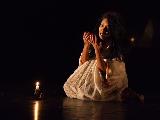 """Jessica Frances Dukes in """"Macbeth"""" at Actors Theatre of Louisville."""